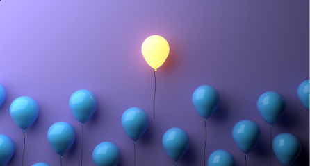 Single glowing baloon standing above several blue balloons